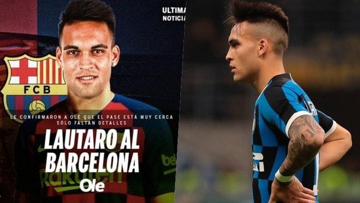 Lautaro Martinez con la maglia del Barcellona. Olé: