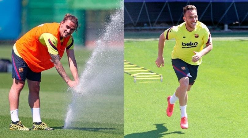 Barcellona, Griezmann fa l'idraulico e Arthur se la spassa
