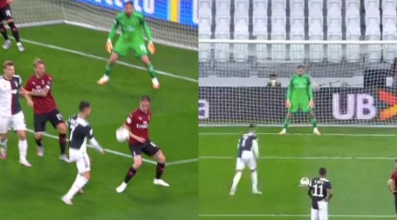 Juve-Milan, il fallo di Conti e il rigore sbagliato da Ronaldo