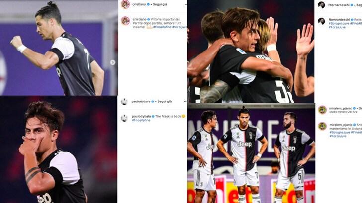 Juve, i giocatori sui social: