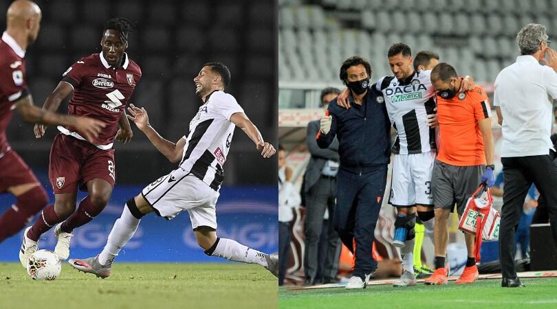Torino-Udinese, Mandragora in lacrime dopo il ko al ginocchio