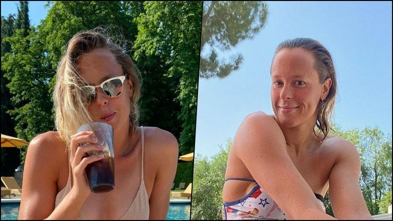 Federica Pellegrini prende il sole in piscina