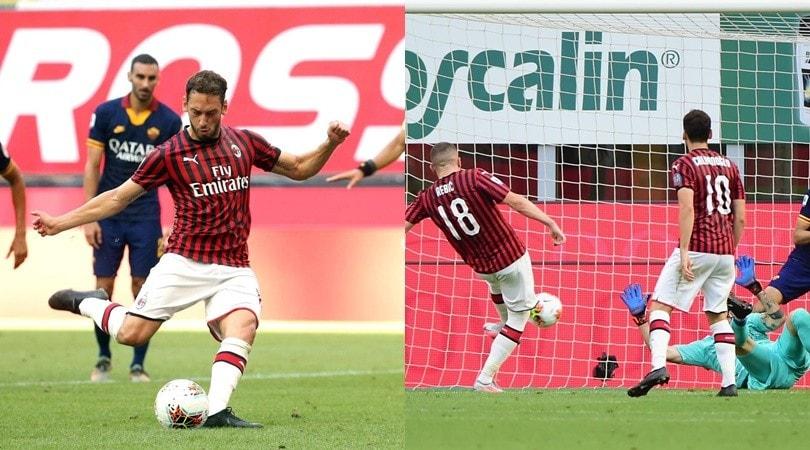Rebic non si ferma più, poi Calhanoglu: Milan show con la Roma