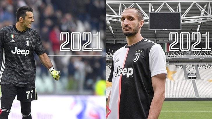 Buffon e Chiellini rinnovano con la Juve fino al 2021: è ufficiale