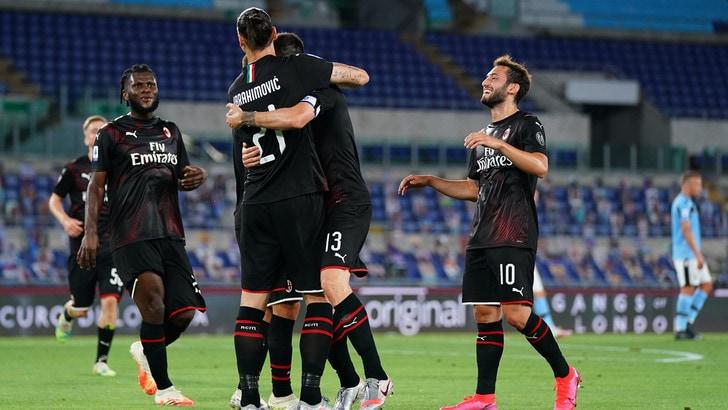 Lazio-Milan 0-3: Calhanoglu, Ibra e Rebic mandano la Juve a +7