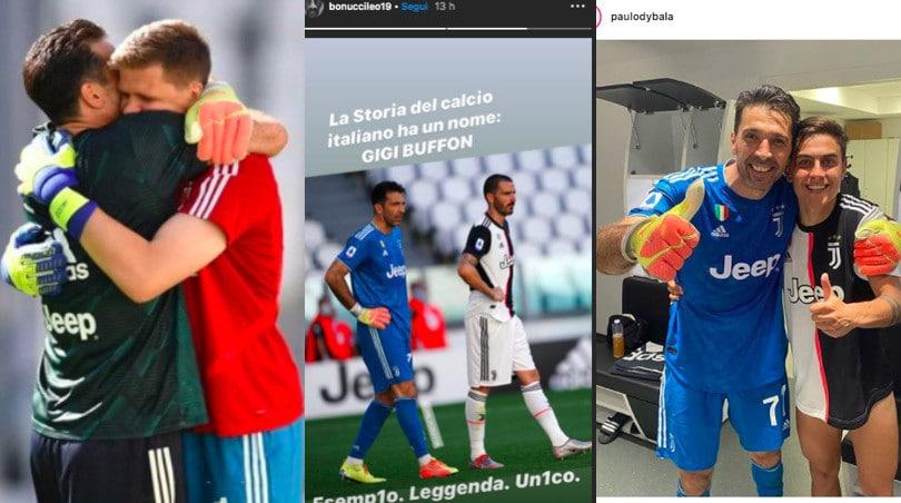 Buffon da record, da Dybala a Bonucci: quanti omaggi sui social