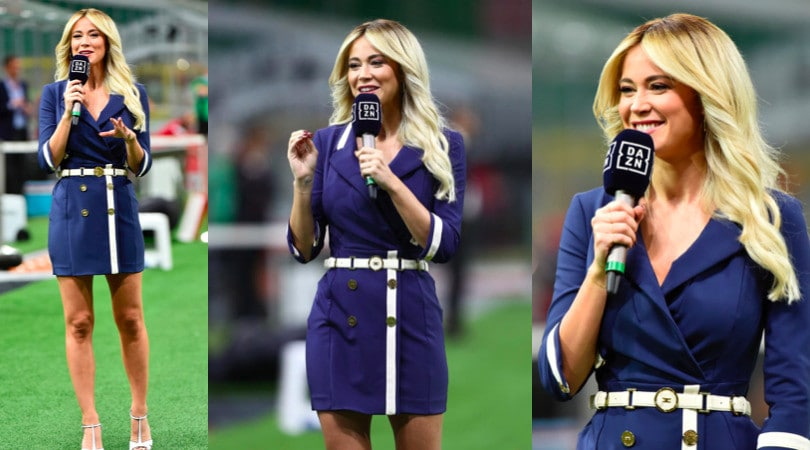 Diletta Leotta, sorrisi e look spettacolare per Milan-Juve