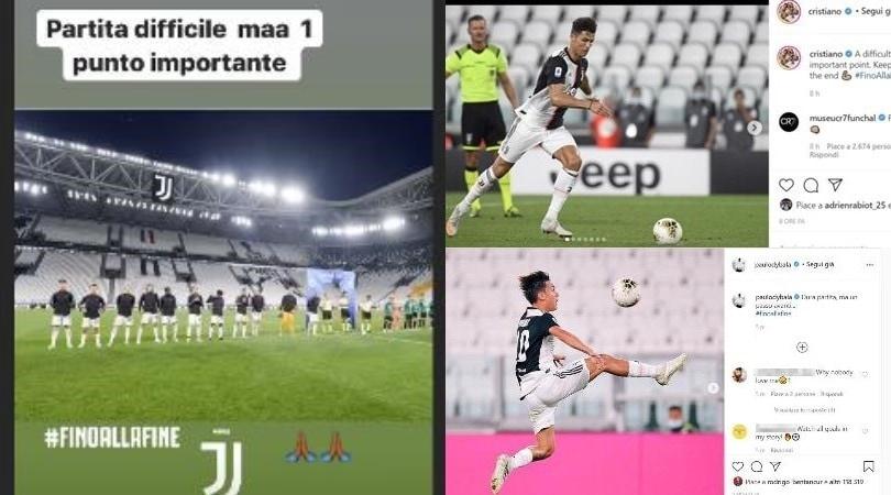"""Juve, Ronaldo e compagni soddisfatti sui social: """"Con l'Atalanta pareggio importante"""""""