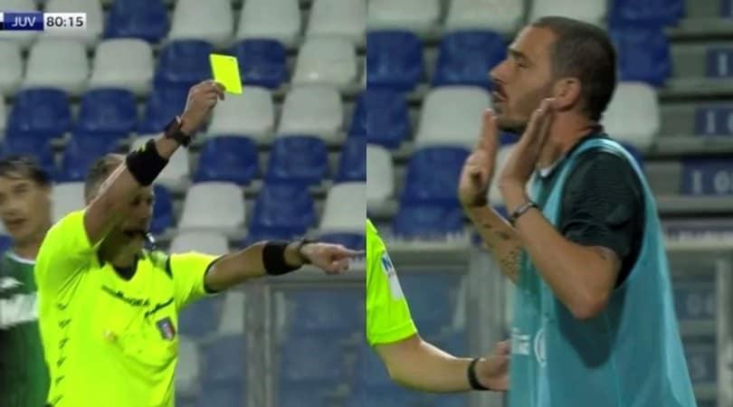 Sassuolo-Juve, Bonucci discute con Peluso e viene ammonito in panchina