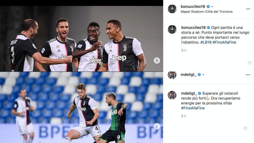 Juve, da Bonucci a De Ligt e Cristiano Ronaldo: la reazione social dopo il 3-3 col Sassuolo