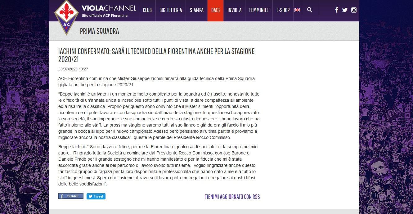 Fiorentina: Iachini confermato per la prossima stagione