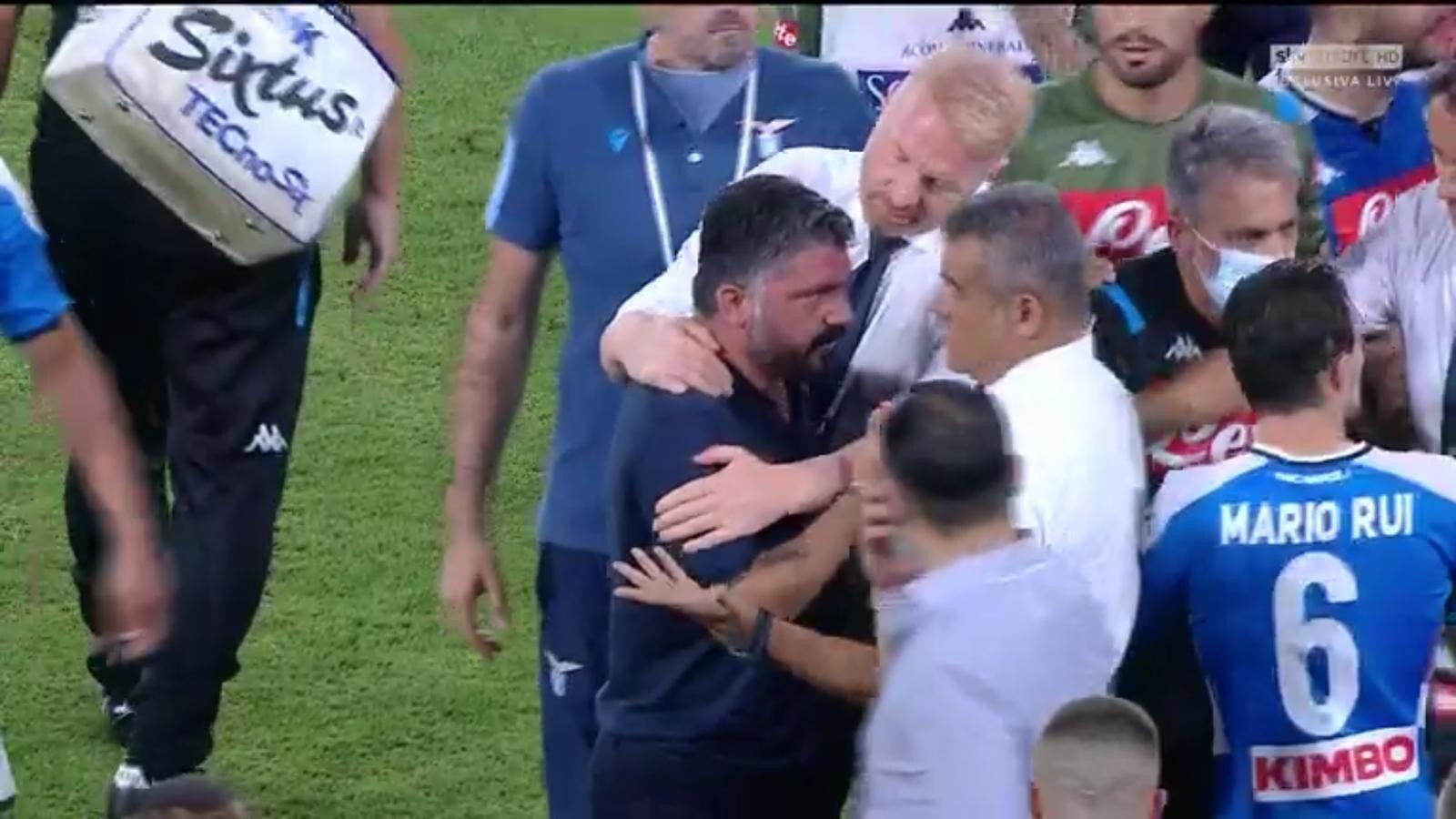 Napoli-Lazio, scintille nel finale: Gattuso ringhia contro Inzaghi