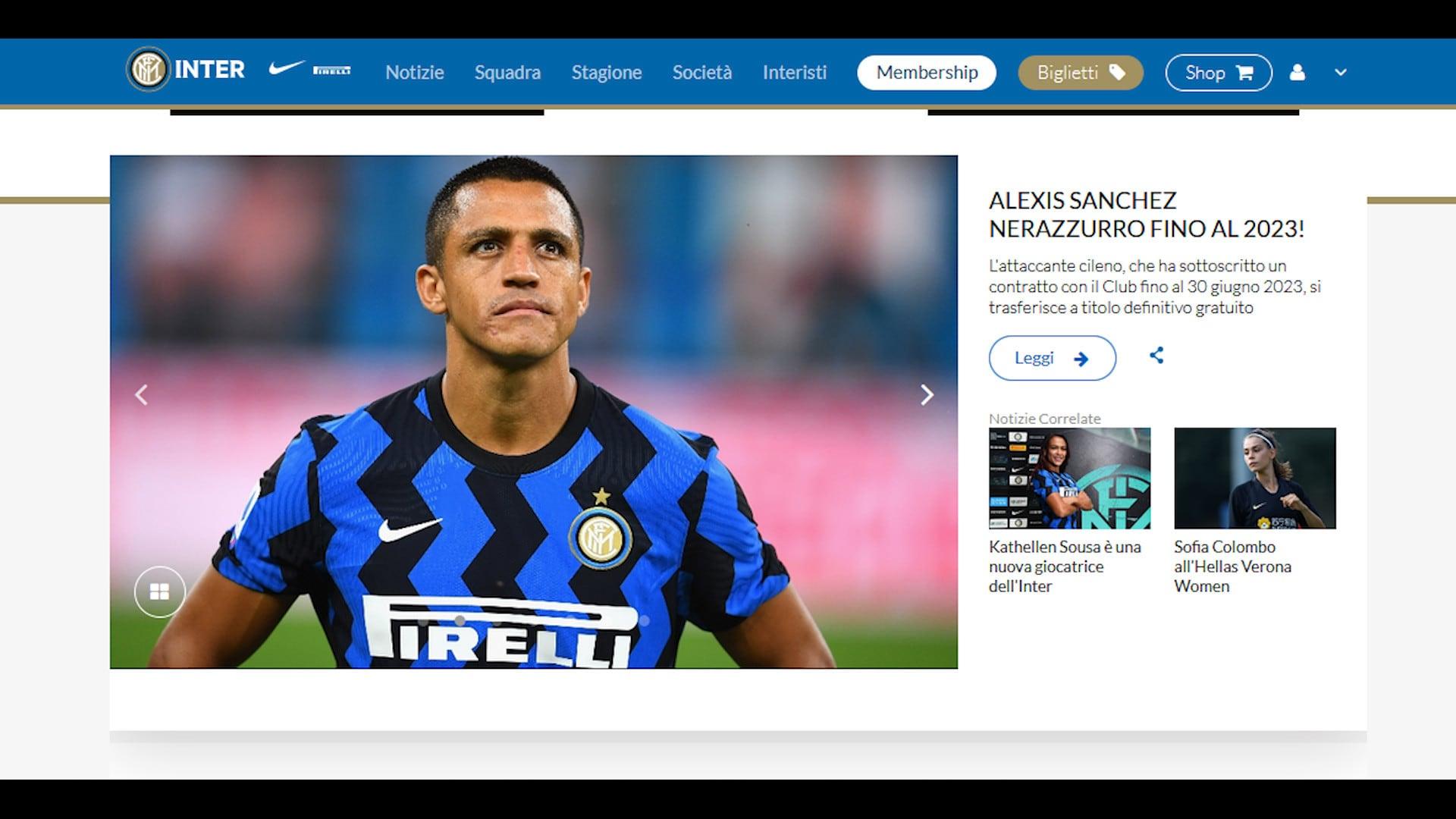 Ufficale, l'Inter annuncia l'acquisto di Sanchez fino al 2023