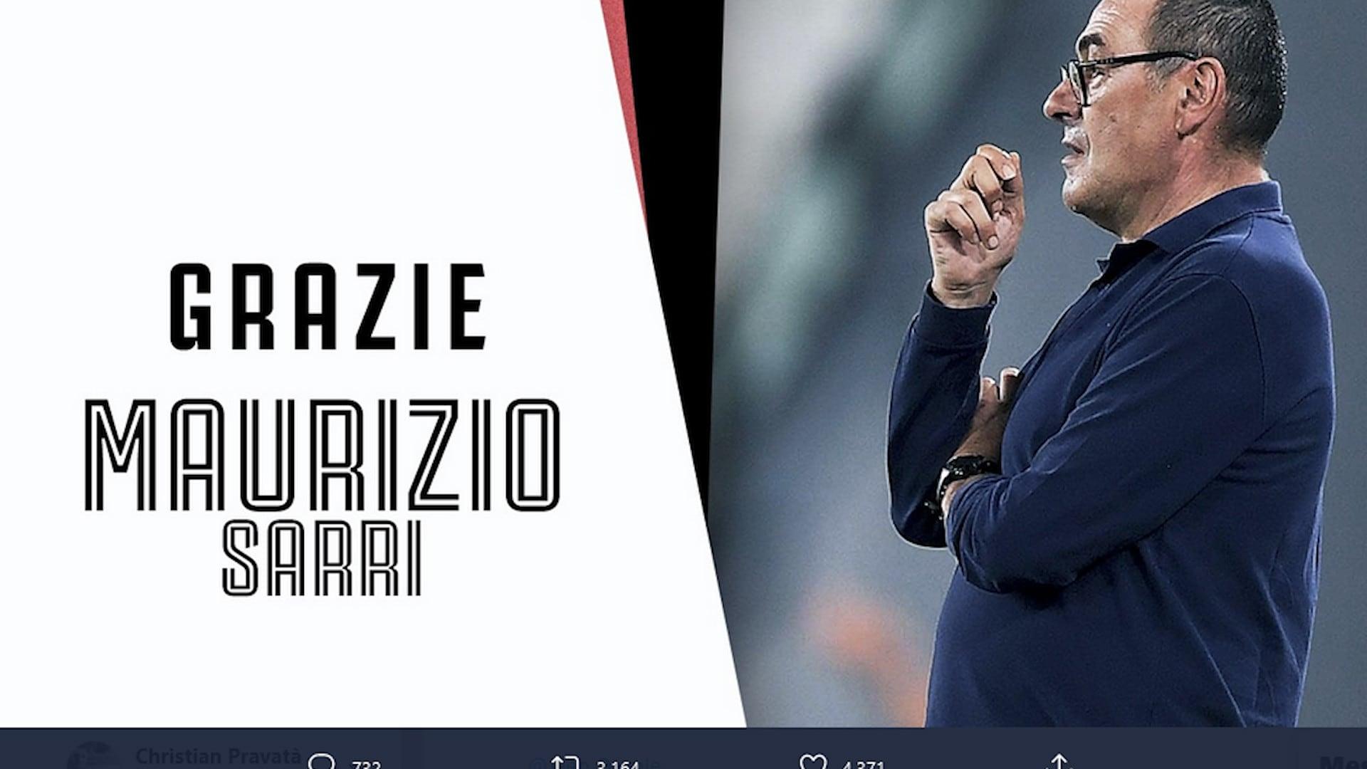 Ufficiale: la Juve ha esonerato Maurizio Sarri