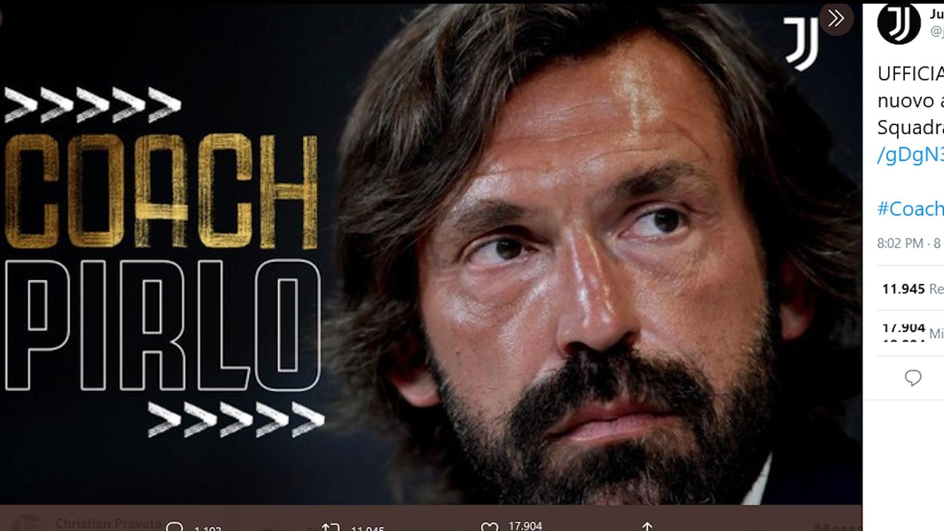 Juve, ufficiale: Andrea Pirlo è il nuovo tecnico