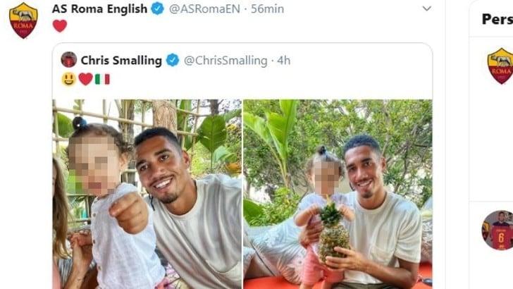 Smalling in vacanza in Sardegna, la Roma lo ritwitta sui social