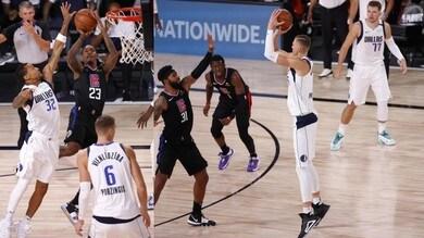 Nba, i Mavericks pareggiano nella serie contro i Clippers: ci pensa Doncic