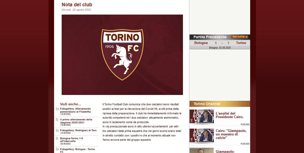Coronavirus, 2 positivi nel Torino