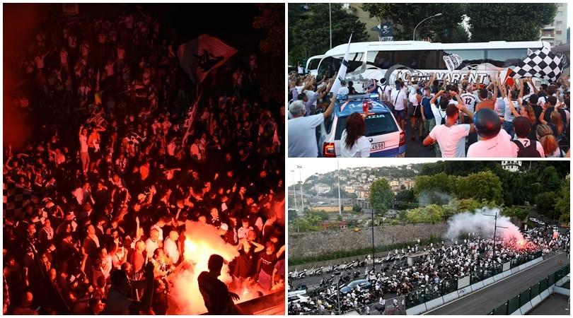 Spezia, i tifosi festeggiano la Serie A ma si scordano la mascherina
