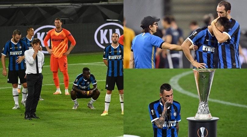 Lacrime Inter dopo il ko con il Siviglia: Conte si trattiene a stento