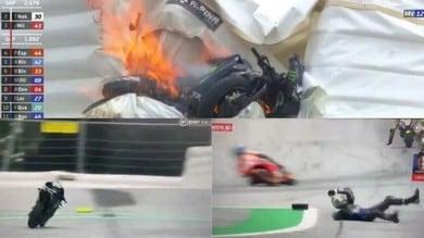 MotoGp, Vinales: che paura! Salta dalla moto a 220 all'ora prima dello schianto