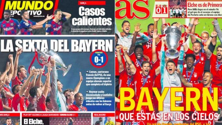 Bayern, i giornali celebrano il trionfo in Champions: