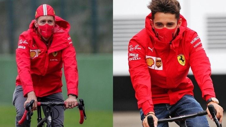 Leclerc e Vettel, in bicicletta con la mascherina
