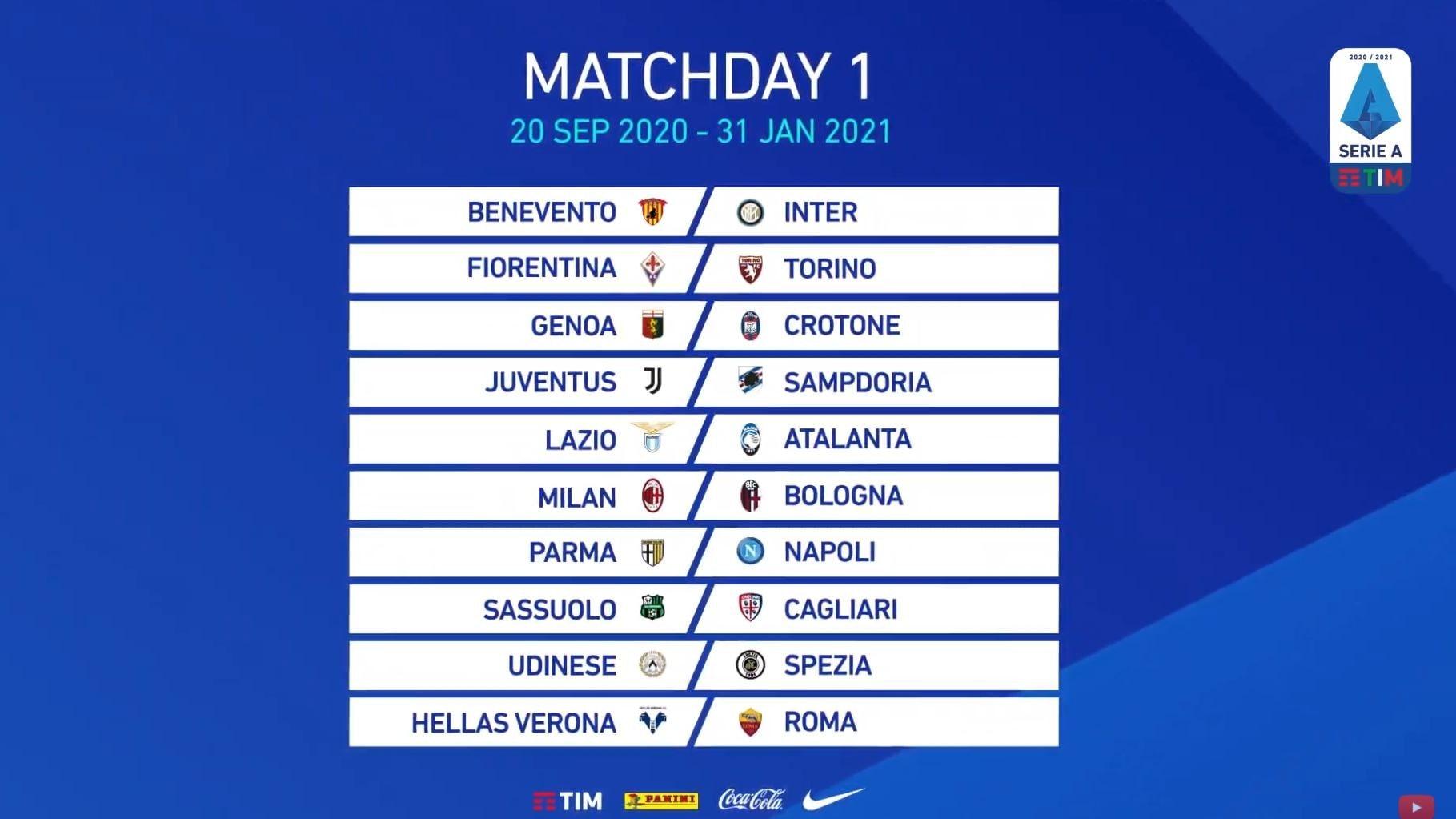 Calendario Serie A 2020/21, ecco tutte le giornate del campionato