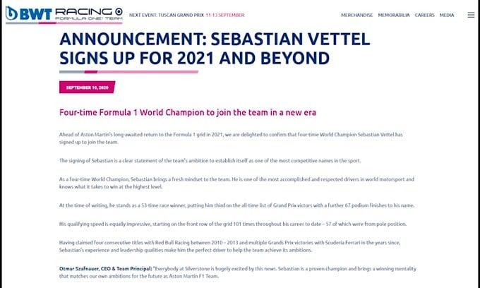 Ufficiale: Vettel pilota della Aston Martin per il 2021