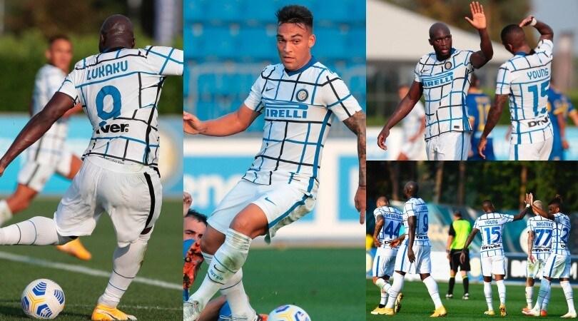 Lukaku e Lautaro show con l'Inter: doppiette alla Carrarese