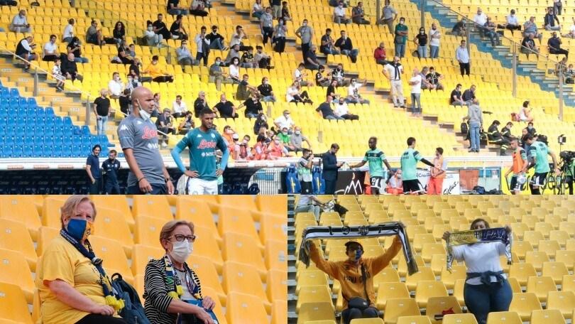 Parma-Napoli, tifosi sugli spalti: mascherine e distanziamento
