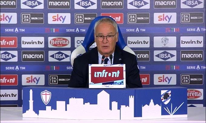 """Ranieri: """"Quagliarella dispiaciuto per il cambio, ma aveva i crampi"""""""