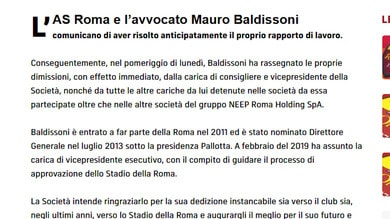 Roma, Baldissoni lascia il club con effetto immediato