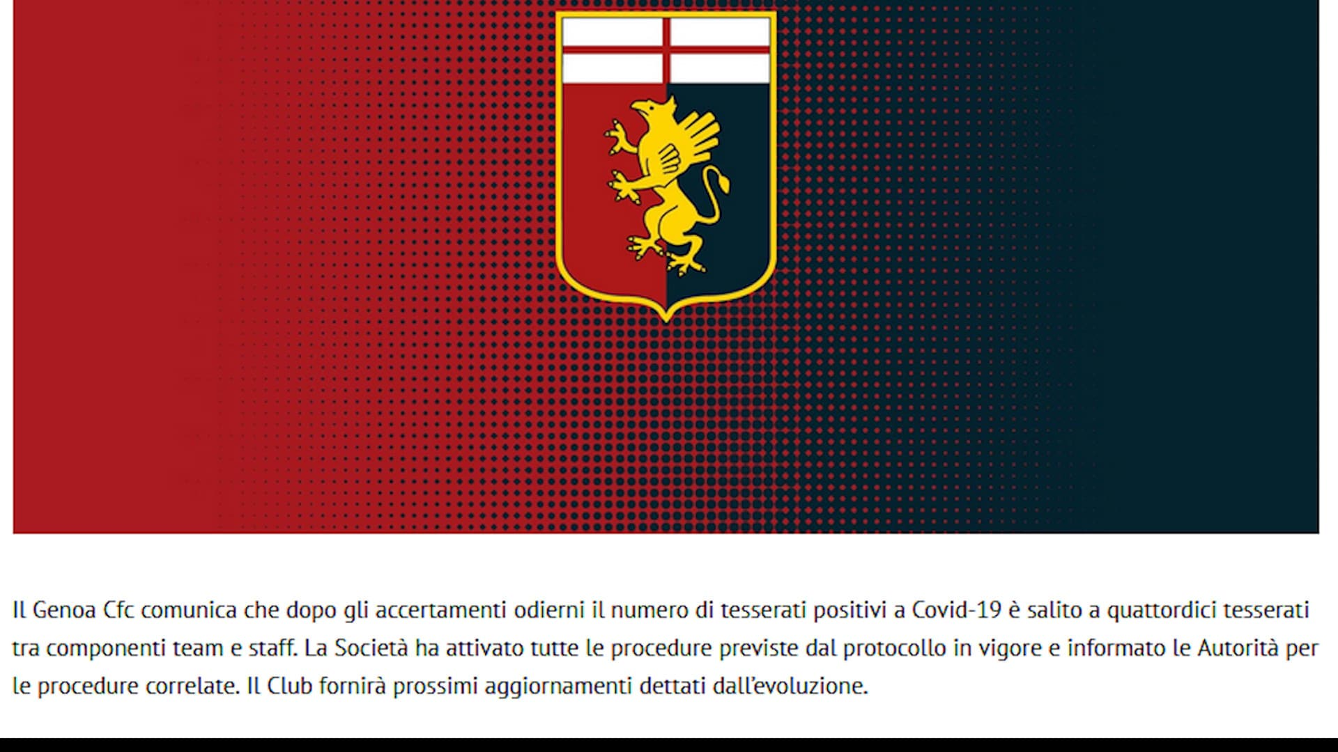 Shock Genoa, 14 tesserati positivi al Covid
