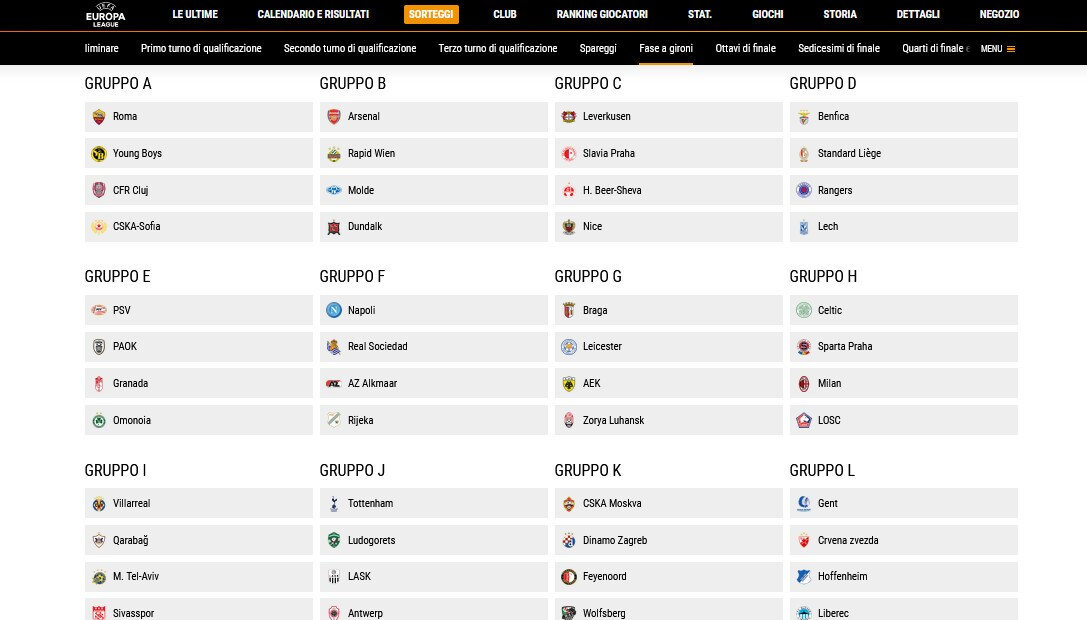 Europa League, ecco i sorteggi