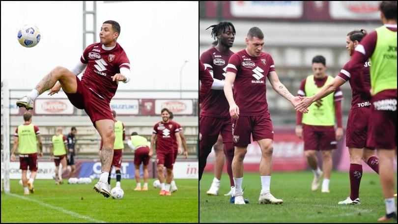 Torino, allenamento sotto la pioggia: Izzo prova l'acrobazia, cinque tra Belotti e Ansaldi