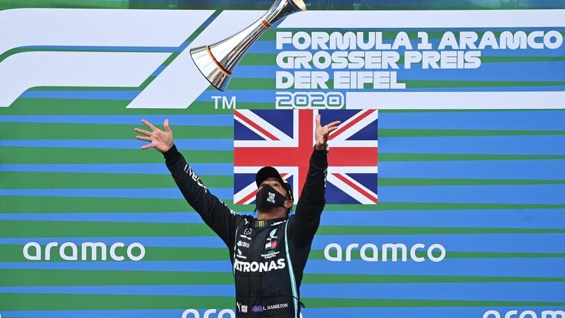 """Gp Eifel, Hamilton: """"Orgoglio enorme eguagliare record Schumacher"""""""