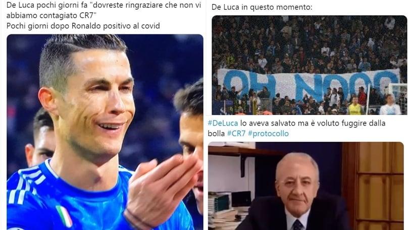 Coronavirus, Ronaldo e De Luca: social scatenati