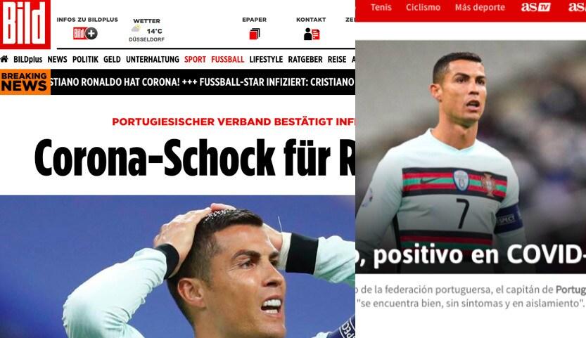 Ronaldo positivo, la notizia sui siti di tutto il mondo