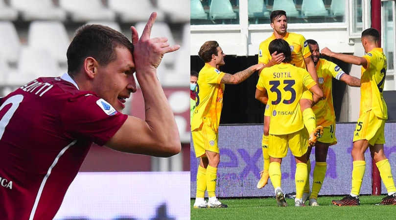 Belotti fa doppietta ma vince il Cagliari: Torino ancora ko