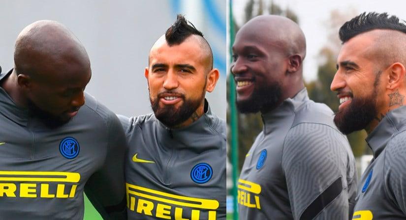 Inter, che feeling tra Vidal e Lukaku in allenamento