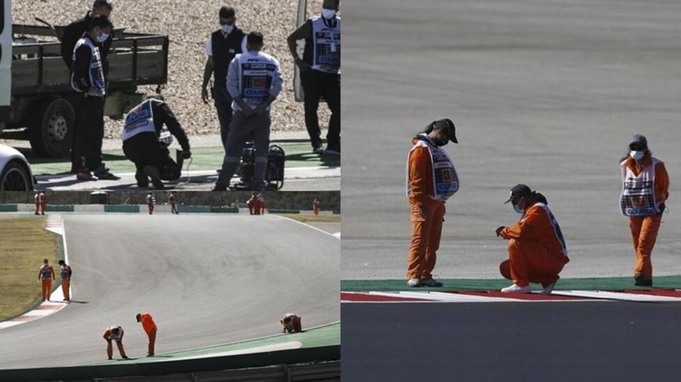 Un tombino divelto a pochi minuti dal termine della terza sessione di prove ha imposto uno slittamento di circa 30' delle qualifiche del GP di Portogallo