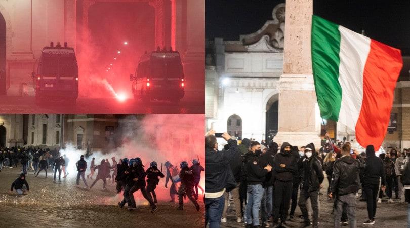 Roma nel caos, protesta a Piazza del Popolo contro il coprifuoco