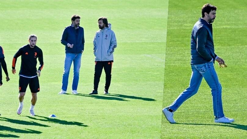 Juve, allenamento vista Barcellona: Agnelli al fianco di Pirlo