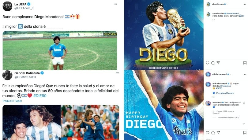 Maradona spegne 60 candeline: l'omaggio di sportivi e vip