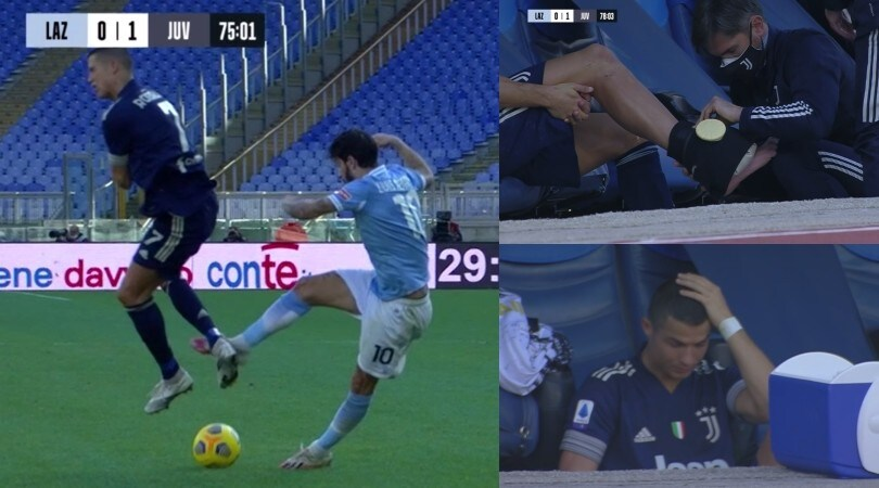 Cristiano Ronaldo va ko in Lazio-Juve: problema alla caviglia