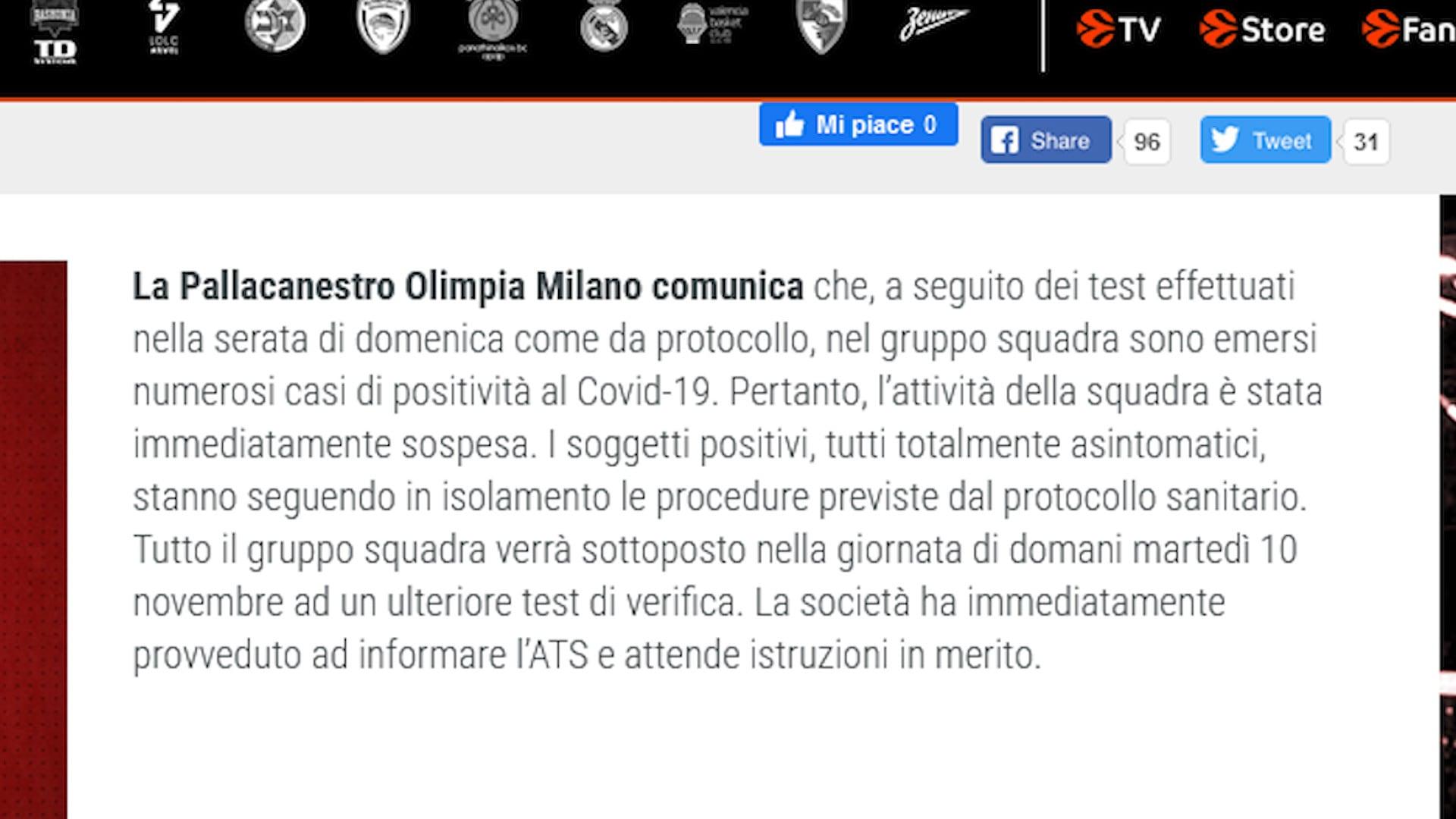 Focolaio Covid-19 in casa Olimpia Milano: sospesa l'attività sportiva