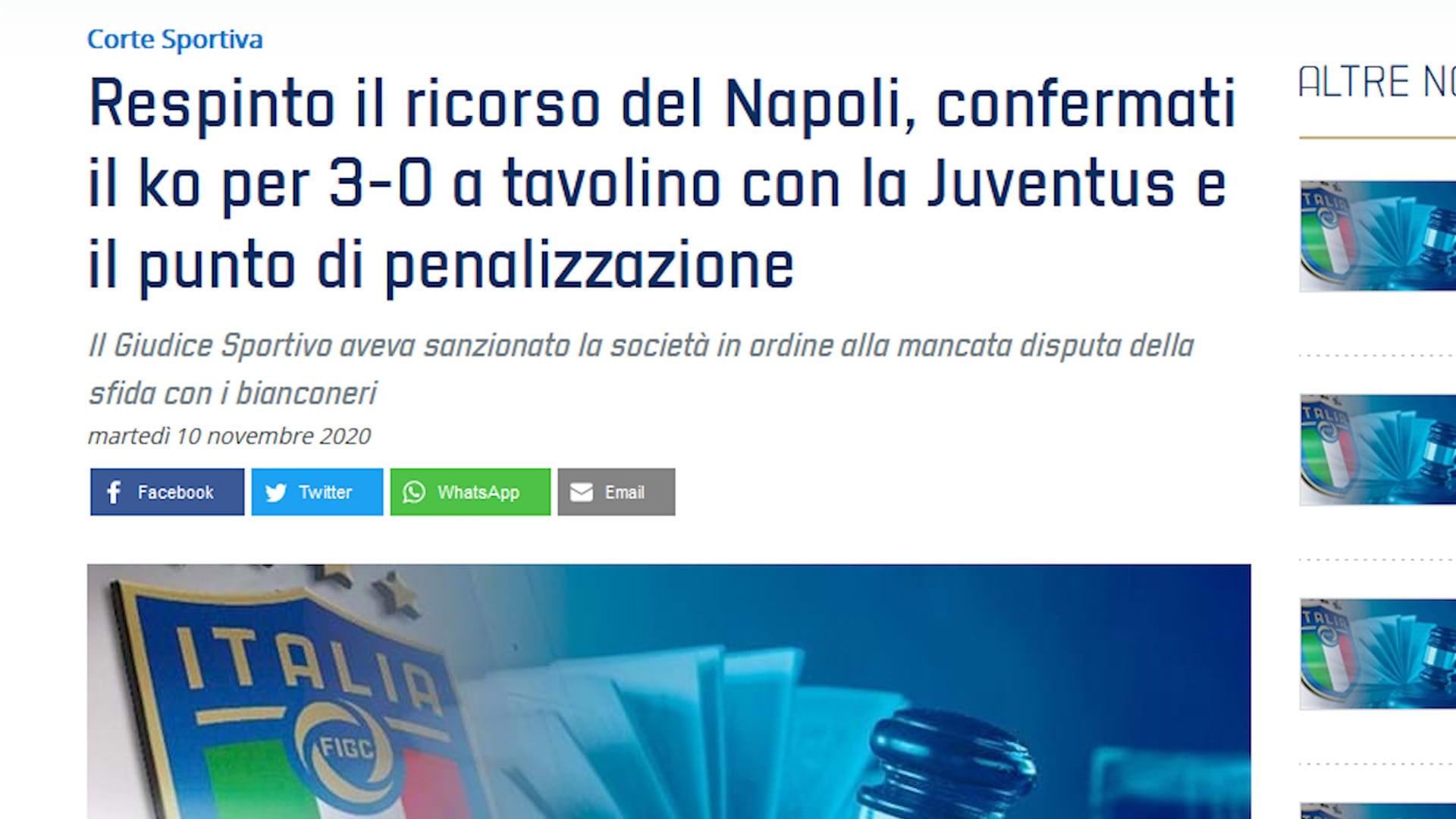 Juve-Napoli, la sentenza: confermato in appello il 3-0 a tavolino