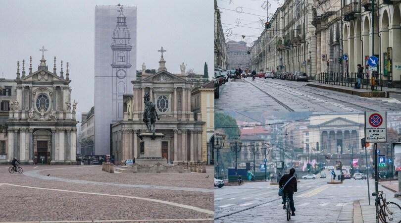Lockdown a Torino, vie e piazze deserte
