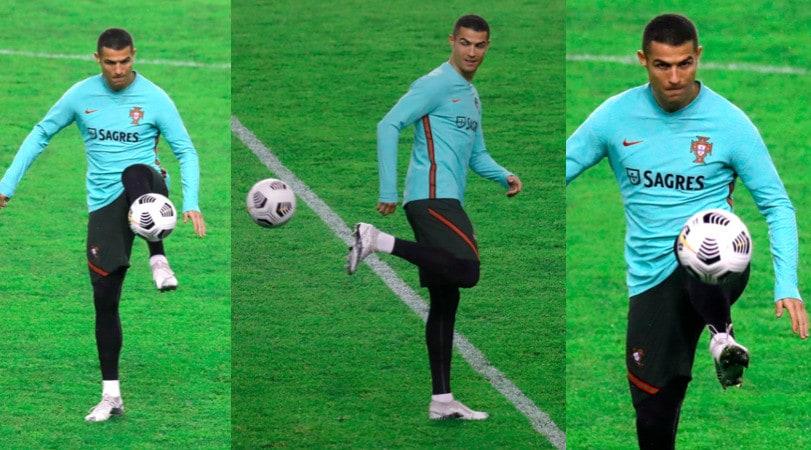 Ronaldo, magie in allenamento con il Portogallo